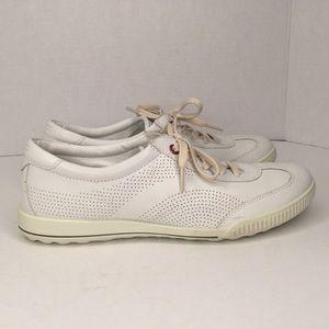 Ecco white leather sneakers.